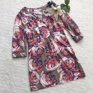 Boden Rose Print Summer Dress Pink Tan Mini G